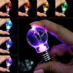 Hot 1 Pc Women Men New Fashion Popular Charming Clear LED Light Lamp Bulb Change Colors Key Chain Gift