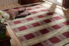 Everson Rugs Rect Wool & Cotton  / Like us on Facebook! https://www.facebook.com/AllysonsPlaceDecor / #Primitive / #Country