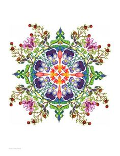 Nandina Mandala Unmatted Print. $20.00, via Etsy.  Pretty Tattoo Pattern