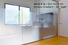 "SOLYX: SXJ-0530 Gradient Stripes window film graduates in opacity from the bottom to the top of the film. Perfect for semi-privacy. Supplied per running foot x 60"" HIGH. Order width needed."
