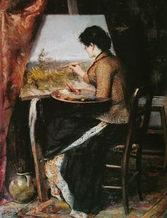 "♀ ""No atelier"" (1894) → José Ferraz de Almeida Júnior. Brazilian (1850 - 1899)"