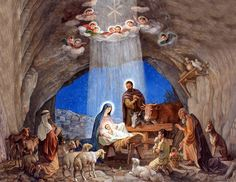 The birth of our Lord, Jesus Christ. He was not born in a castle as a King should, but in a humble stable. Simple Love