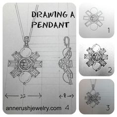 how to draw a pendant from the front and side #drawing #jewelry #howto