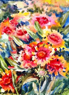 Blanket flowers original watercolor painting 12 X by ORIGINALONLY, $34.00