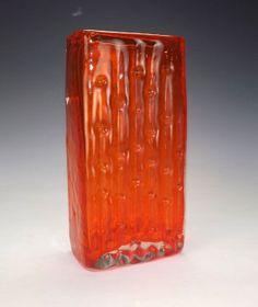 Whitefriars Glass Baxter Tangerine Bamboo Vase - Retro 1960's