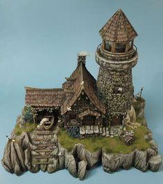 "Résultat de recherche d'images pour ""dungeon&dragons crafter diorama"" Fantasy Castle, Fantasy House, Medieval Fantasy, Medieval Houses, Medieval Town, Tabletop, Hirst Arts, Minecraft Medieval, Warhammer Terrain"