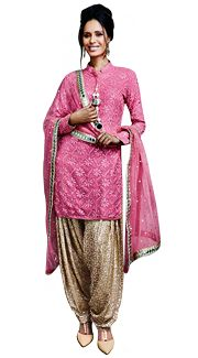 Buy Brown Cotton Embroidery Punjabi Suit 44850 online at lowest price from huge collection of salwar kameez at Indianclothstore.com.