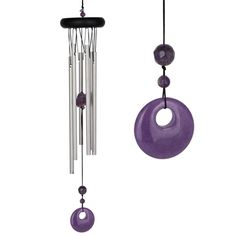 #Chakra Chime Amethyst.  Amethyst represents the Crown Chakra - thought and self-knowledge. When developed, the Crown Chakra brings us knowledge, wisdom, understanding, spiritual connection, and bliss. Amethyst enhances peace of mind and bestows stability, strength and contentment. #chimes #windchimes