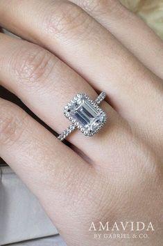 18k White Gold Emerald Cut Double Halo Engagement Ring #gorgeousrings #haloengagement #haloengagementrings #halorings
