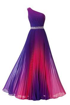 Missdressy Damen Chiffon A-Linie Abendkleid Ein-Schulter Lang Steine-38-Violett