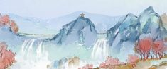 chinese style, ink landscape, ink painting, pavilion, waterfall, mountain, river, flower, ink, chinese style background, ink background Garden Painting, Ink Painting, Paint Background, Background Images, Green Flowers, Floral Flowers, Garden Waterfall, Wedding Frames, Flower Frame