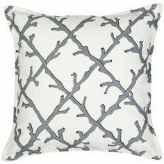 Our soft, and subtle beach sand shade of grey, coral trellis patterned cotton 20 x 20 pillow is finished with an overstuffed eco-friendly insert. #coastalpillow #coralpillow
