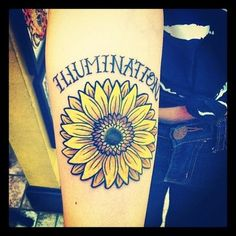 Sunflower tattoo. Done by Edwin Marquez @ Regeneration Tattoo in Allston, MA.