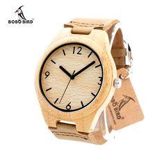 2017 Top Brand Watches BOBO BIRD Bamboo Mens Watch Genuine Leather Wooden Wristwatches relogio masculino C-F15