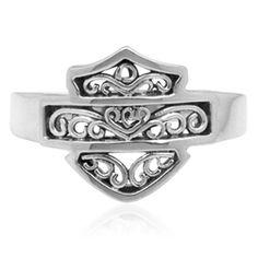 Harley Filigree Bar and Shield Ring by Mod