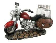 SPICY RIDER Retro Motorcycle Salt & Pepper Shaker Set by Things2Die4. $18.49. Cold Cast Resin. 5 in. Tall, 8 in. Wide, 4 1/4 in. Deep. Makes a Great Gift. This cool motorcycle salt and pepper shaker set looks great in kitchens or on dining tables. Made of cold cast resin, the glass shakers fit perfectly into the motorcycle's saddle bags. It measures 5 inches tall, 8 inches wide and 4 1/4 inches deep, and the shakers are 3 1/8 inches tall. It makes a great gift for any m...