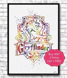 Gryffindor+Crest+Watercolor+Print+Harry+Potter+Fine+by+ArtsPrint