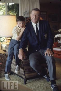 John Wayne at home with son John Ethan