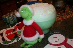 7up and sherbert for grinch themed christmas drinks