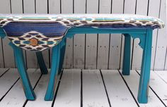 Colorful chenille patterned bench, one of a kind at Bonsai Treehouse!