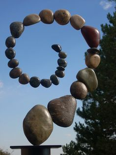 Polished river rock sculpture