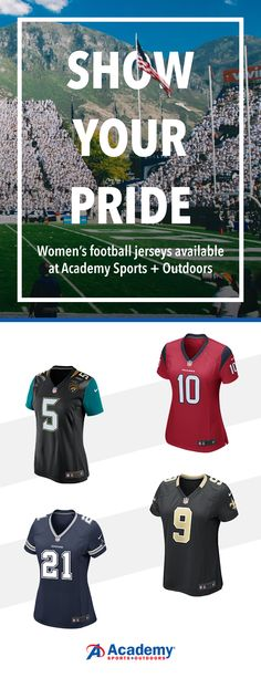 Show your support for your favorite player and team in a women's specific authentic football jersey. Its comfy polyester material and feminine fit let you kick back and relax as you cheer on The Boys. Gear up for NFL game day with apparel and accessories from Academy.com.