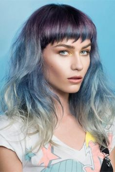 Purple to Blue to Grey Hair Colour Fade Ombré | www.rnrhairandbeauty.com.au