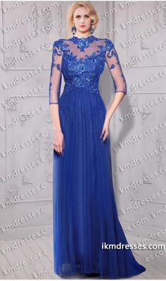 ye-catching sheer illusion half sleeves tulle Lace applique dress Blue Dresses http://www.ikmdresses.com/eye-catching-sheer-illusion-half-sleeves-tulle-Lace-applique-dress-p60854