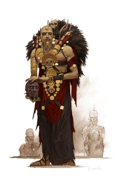 character concept male human tribal voodoo priest unmagic undead necromancer shaman realistic cloth aztec