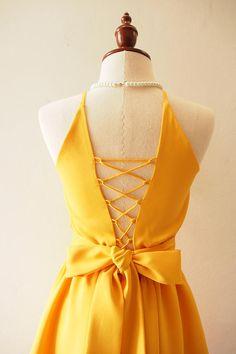 Cross Rope Dress Mustard Yellow Prom Dress Vintage Sundress 50