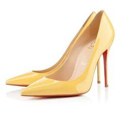 @480 100mm Canari Yellow Christian Louboutin Decollete Women's Evening Stiletto Pumps DYT