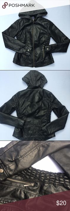 Black Leather Jacket Black leather jacket with dark grey hood. Size medium. Like new condition. Perfect for the upcoming fall season. #black #leather #jacket #leatherjacket #blackleatherjacket #blackjacket #sizemedium #medium #mediumjacket Rue21 Jackets & Coats