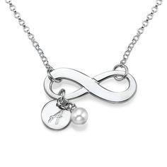 Infinity ketting met Initiaal in Sterling Zilver   Moncollierprenom