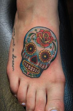 Rose Head Sugar SKull Tattoo On Foot. Don't like the position but love the skull. Skull Candy Tattoo, Candy Skulls, Mexican Skull Tattoos, Sugar Skull Tattoos, Sugar Skulls, Calavera Tattoo, Tattoo Designs, Skull Tattoo Design, Tattoo Ideas