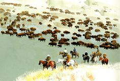 Antelope Island Buffalo Roundup by Don Weller giclee ~  x