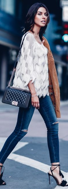 fringe top with ripped denim