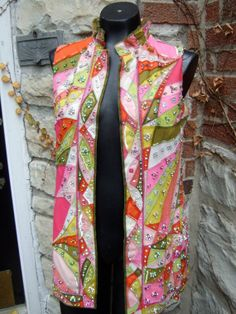 SALE PUCCI Incredible Mind Boggling Tunic by worldmarketproductio on etsy Silk Tunic, Sleeveless Tunic, Textile Museum, 20th Century Fashion, Crystal Design, White Silk, Pucci, Pale Pink, Floral Tie