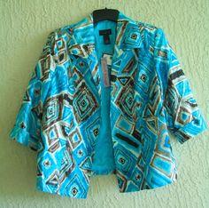 INVESTMENTS II Size 18W Jacket Tribal Geo Print 3/4 Sleeves Lined NWT #InvestmentsII #BasicJacket