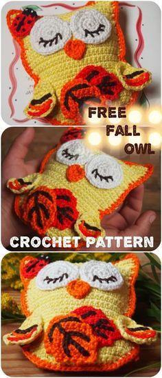 Autumn came with its long evenings. Are you dreaming of the past summer or are you already planning Christmas shopping? Owl Crochet Patterns, Crochet Owls, Owl Patterns, Free Crochet, Knit Crochet, Knitting Patterns, Crochet Animals, Autumn Crochet, Kawaii Crochet