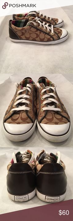 Signature Coach sneakers Nearly brand new coach sneakers. Tan canvas sneakers with signature coach design on them. They have only been worn two times and are in near perfect condition. There is a small amount of dirt near the soles, but it is not noticeable when the sneakers are on Coach Shoes Sneakers