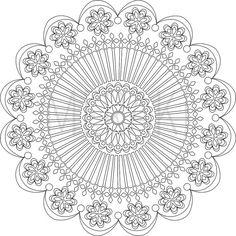 Tranquility Mandala Adult Coloring Page by MerakiColoringDesign                                                                                                                                                                                 Más