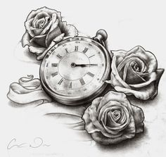 Timepiece and Roses Tattoo Design - Desaturated by t-o-n-e.deviantart.com