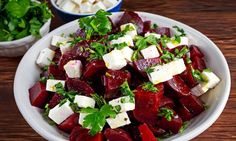 It& time to switch up your salads! For a quick and easy beet and feta salad, use canned beets. For a more filling meal add your choice of meat and a roll. Salad Recipes Video, Healthy Salad Recipes, Beetroot And Feta Salad, Spinach And Cheese, My Best Recipe, Beets, Vegetable Recipes, The Best, Easy Meals