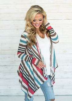 At Modern Vintage Boutique, you will find everything you need to create a cute and stylish outfit! Shop our online boutique collection of outerwear! Modern Vintage Boutique, Cowgirl Chic, Striped Cardigan, Western Wear, Boutique Clothing, Stylish Outfits, Spring, Street Style, Fall Clothes