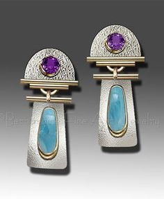 Faceted Amethyst Textured Sterling Silver 18K Gold