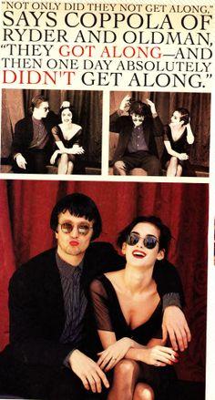 Winona and Gary goofing around, Premiere Magazine Dracula Article