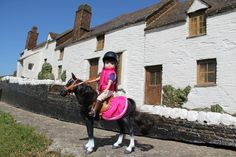 #UK #Cornwall #Lottie dolls Lottie and Seren the Welsh Mountain Pony at Lands End, Cornwall, UK