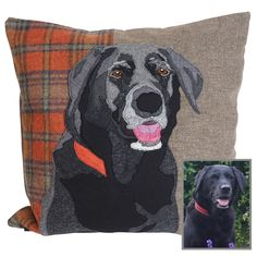 commissioned gift of Poppy the black Labrador. Appliqued and embroidered onto a red plaid background Dog Lover Gifts, Dog Lovers, Dog Cushions, Pillows, Working Cocker, Pet Dogs, Pets, Animal Quilts, Embroidered Cushions