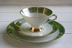 Vintage 1950s Tea Cup and Saucer Trio Set by CirceCollectables