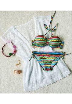 super adorable bikini, coverup, flower crown, and accessories